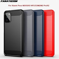 50pcs lot Armor Rugged Carbon Fiber Brushed Texture Silicone TPU Cases For Xiaomi Poco M3 X3 NFC C3 M2 Pro X2 Phone Cover