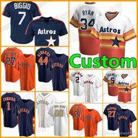 Retro 34 Nolan Ryan Astros Custom 27 Jose Altuve Jersey 2 Alex Bregman Béisbol Houston 7 Craig Biggio 99 J.J. Watt 43 Lance McCullers