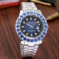남자 다채로운 다이아몬드 시계 반지 라인 석 패션 드레스 유명 디자이너 전체 스테인레스 스틸 스트랩 쿼츠 운동 선물 시계