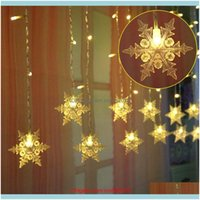 Decorations Festive Party Supplies & Garden3.5M 96 Leds Outdoor Lights Snowflake String Garden Home Decor Christmas Led Curtain Light D30 Dr