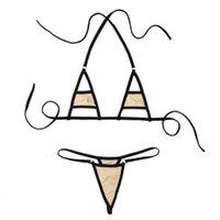Frauen Halter Neck Sexy Three Point Bikini Strap T-Back Dessous Set Micro G-String und BH Top Triangle Hohlkasse