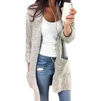 Осенний свитер Женщины зима случайные вязаные длинные кардиганские пальто мода твердые карманы свободно негабаритные женские 5xl женские свитера