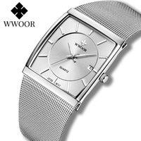 Armbanduhren Slim Uhr für Männer 2021 Wwoor Top Ultra Dünne Stahl Mesh Wasserdichte Datum Clock Herren Quartz Reloj Hombre