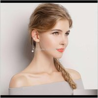 Charm Bamoer Unusual 925 Sterling Sier Geometric Circle T Bar Long Drop Earrings For Women Fashion Special Jewelry Sce081Vip 100Fo Fpxar
