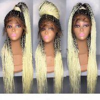 Mode Ombre Black to Blondine Neue Geflochtene Haar Glueless Synthetische Spitze Frontperücken mit Babyhaar Hitzebeständige Boxzähne Perücken Für Frauen