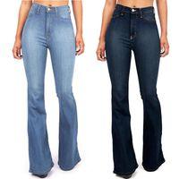 Jeans pour femmes taille haute pocket large jambe plaquette maigre boutonnée pantalons vêtements vêtir vêtement poches de mode