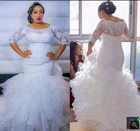 Robe De Mariage Tiered Cascading Ruffles Mermaid Wedding Dress Half sleeve Plus Size lace appliques beaded bride dresses court train long elegant bridal gowns
