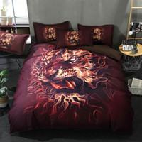 Conjuntos de cama HD Impresión digital HD Ropa de cama 3D Ropa de cama Quit / Funda de edredón Set Hoja 3/4 PCS Reina King Wolf Animals Cat Ropa de cama