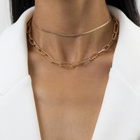 Chokers Multi-layered Snake Chain Choker Necklace For Women Gold Silve Color Paper Clip Clavicle Herringbone Trendy Jewelry Gift