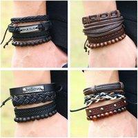 Tennis 4Pcs Sets Handmade Wrist Leather Bracelet & Bangle Women Mens Bracelets Sets Pulseira Masculina Jewelry Charm Bileklik