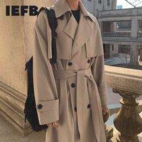 IEFB Herrenverschleiß Frühlingsmode Zweireiher Kleidung männlich lange Mantel Lose Mantel Trend Hübscher lässig Windschutz 210524