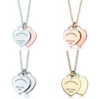 Collana in argento sterling classico 925, doppio cuore ciondolo gioielli moda donna, originale 1: 1 di alta qualità, ritorno 210621