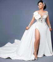 2021 Plus Size Arabo Aso Aso EBI Mermaid Lace Crystals Abiti da sposa Neck Sheer Collo Straccato Abiti da sposa Abiti da sposa ZJ575