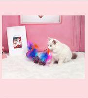 Bonitos brinquedos engraçados Estique bola de pelúcia esfera bolas penas colorido interativo pet mastigar brinquedo para animais de estimação ahd5941