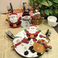Christmas Cartoon Cutlery Set Knife Fork Table Decorations Creative Hotel Santa Claus Forks Bag Xmas Decoration