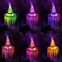 Party Hats Halloween Decoration Hanging LED Lighted Witch Glowing Ghost Wearable Hat Tree Home Decorative Ornaments Prop