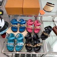 골드 체인 샌들 패션 양각 양고기 슬리퍼 여름 플랫 슬라이드 중공 플랫폼 슬리퍼 가죽 신발 고무 샌들