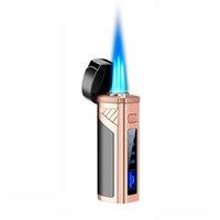 Briquet de la torche à cigares avec perfuncage allumage électrique triple briquets de jet de flamme pneumatique détectant pneummatique