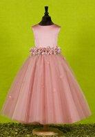 Un vestido de la línea de las niñas de las flores para el niño hecho a mano el concurso de bodas vestidos niños fiesta de fiesta princesa