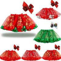 Mini niños cortos cortos faldas cortas 2021 volantes Big Bow Sash Rojo Verde de Navidad Tutu Faldas Danza Danza Vestido