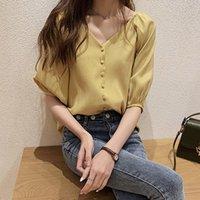 Fashion Chiffon Office Lady Shirt Women Blouse Long Sleeve V-neck Tops Women's Blouses & Shirts