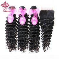 """Queen Hair Products Brasilianische tiefe Welle 1 stück Spitzeverschluss mit 3 stücke Bündel, 4 stücke Lot Brasilianische jungfräuliche menschliche Haare Weave Erweiterungen 10 """"-28"""