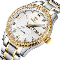 Klassische Silberuhr Männer Gold Rand Diamant Wasserdichte Wolframstahl Armband Luxus Uhren Armbanduhren