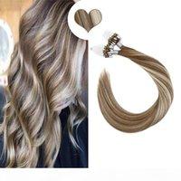 Loop reto micro anel cabelo humano micro links links máquina feita Remy extensões de cabelo 50g 14-22 polegadas