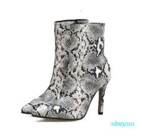 Women Sexy Pointy Toe Stiletto Snake Embossed Pu Half Fashion Boots 2021 Spring New High Heels Shoes Elegant Work Style Size Eu 35-40 8411