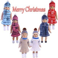Doll Apparel 18 inch American Girl D oll dress three piece set,Girl's Toy DIY Christmas Clothes and scarf
