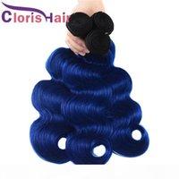 Dark Roots 1B Blue Ombre Weaver humide et ondulé brut indien Vierge Vierge Humain Hair Bundles Body Wave Deux tons Remy Remy Extensions de cheveux