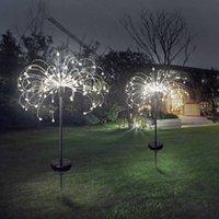 2PCS Solar Powered Outdoor Firework Lights Dandelion String Light Ground Plug Copper Wire Lamp Garden Lights Decoration Lights 210610