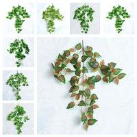 Grüne Seide Künstliche Hängende Blatt Garten Dekorationen 8 Arten Girlande Pflanzen Vine Ahorn Traube Blätter DIY Für Home Hochzeit OOD5981