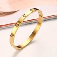 Bracelete de diamante sintético de ouro para mulheres o anel de aço inoxidável eterno de amantes moda europeia e americana