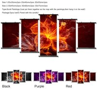 Pronto per appendere! Fashion Wall Art Canvas Pittura 5 pezzi Abstract Fire Flower Modern Home Decoration