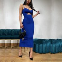 Casual Dresses Colors Women Summer Dress Sexy Spaghetti Straps V Neck Cut Out Bow Bodycon Bandage Runway Celebrity Club Party