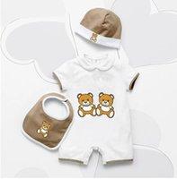 Sommer Neugeborene Baby Kleidung Strampler Unisex Cartoon Baumwolle Kleinkind Designer Jungen Mädchen Strampler Und Hut Lätzchen Set Infant Jumpsuits Kleidung