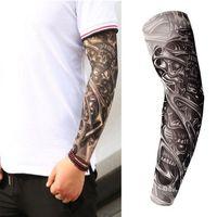 Falso de manga de tatuaje temporal diseña medias del brazo corporal Tatoo para hombres geniales mujeres tigre esqueleto león serpiente ect
