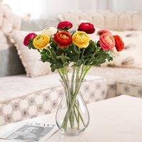 Flores artificiales Flocado Dos Pequeñas Peonías Boda Props Decoración Hogar Sala de estar Decoración Flor Artificial Peony T500635