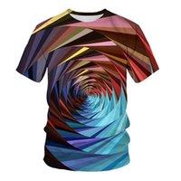 T-shirt Summer 3D Impression numérique Géométrique Casual Vêtements pour hommes Vêtements ronds Col à manches courtes Tees Polos