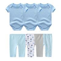 Born Summer Solid Color 0-12M Bodysuits+Pants Baby Clothing Sets 100%Cotton Boy Girl Clothes Suits Roupa De