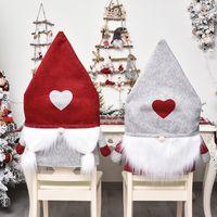 عيد الميلاد غطاء كرسي سانتا كلوز قبعة يغطي غرفة الطعام ديكور عيد الميلاد لينة تمتد مقعد حالة حزب ديكورات المنزل ديكورات GWB9124