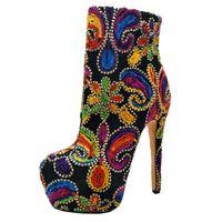 Boots Goofloron Обувь, Сапоги Lady's Boots, Многоцветный вязаный материал на каблуке, 16 см