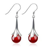 100% Sterling Silver Fashion Rhineston Women Drop Earrings Jewelry Female Valentine's Day Gift Wholesale Dangle & Chandelier
