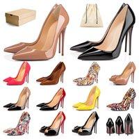 Yüksek Topuk Yani Kate tasarımcıları Elbise ayakkabı Stilleri Kırmızı Altlar bayan Stiletto Topuklu 8 10 12CM Hakiki Deri Sivri Uçlu Loafer'lar Pompalar Kauçuk boyutu 36-44