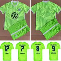 성인용 키트 21/22 VFL Wolfsburg 축구 유니폼 2021 홈 Ginczek Steffen Shirts outsillon Mehmedi Mbabu Brooks Arnold Whyhorst 축구 유니폼