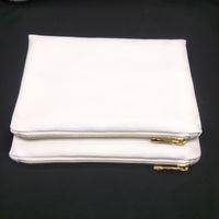 50 pz / lotto 12oz Bianco Bianco Poly Canvas Borsa per il trucco per la sublimazione Stampa Blank Bianco Poly Canvas Borsa cosmetica per la stampa del trasferimento di calore