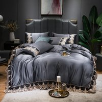 4pcs Lace Washed Silk Bedding Set Satin Duvet Cover Set with Flat Sheet Zipper Closure Queen King 6 Colors