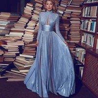 Casual kleider elegant staubig blau langen abend kleid sleeve high necker com 2021 a line plus größe formale party kleider maßgeschneidert
