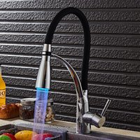 Kitchen Faucets 2 Colors Arrival Soild Brass Faucet Sink Tap LED Bathroom Basin Mixer 360 Rotating Torneira Cozinha